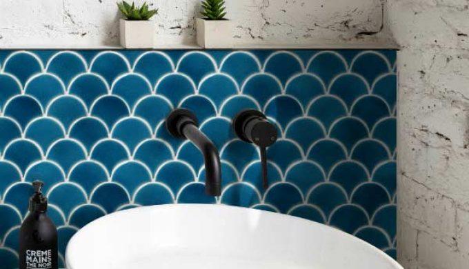 Capietra Scallop Ultramarine 2 Bathroom Tiles